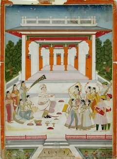 A maharaja playing Holi with women and musicians near a garden pavilion