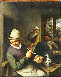 A Man Smoking in an Inn