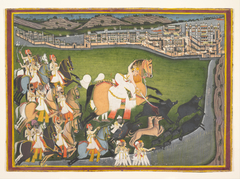 A Prince Hunting Boars with His Retinue