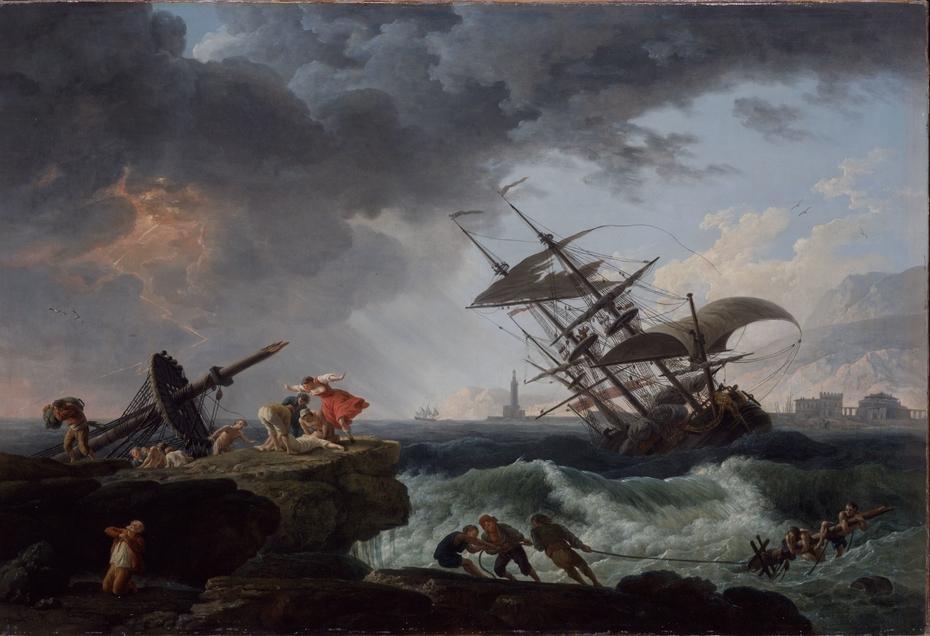 A Shipwreck on a Rocky Coast