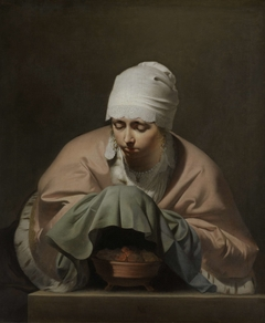 A Young Woman Warming her Hands over a Brazier: Allegory of Winter