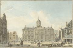 Amsterdam, de Dam met het Stadhuis en de Waag