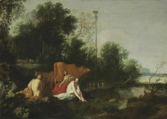 An Arcadian wooded landscape with nymphs, cattle and a maypole