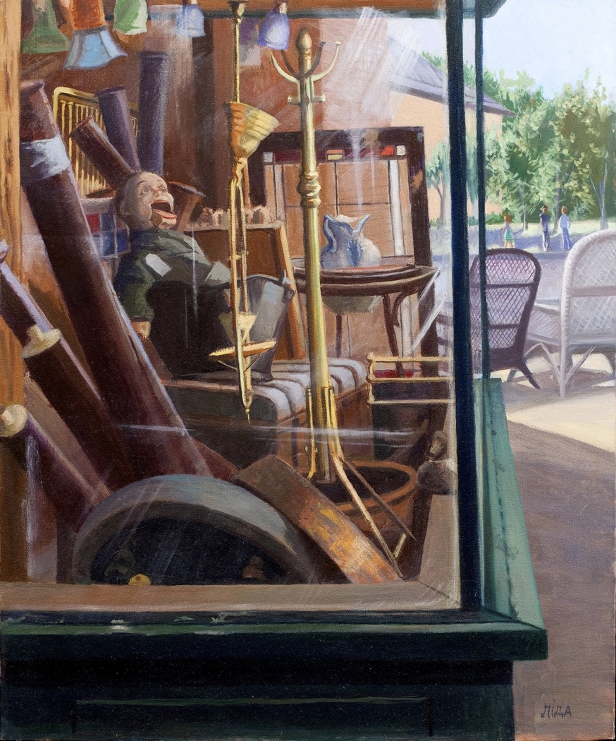 """Antique Store Window"" by Lydia Martin© (24""x18"") oil on Belgian linen"