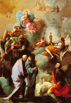 Apparition of the Virgin of Pilar to Santiago and his disciples Zaragoza