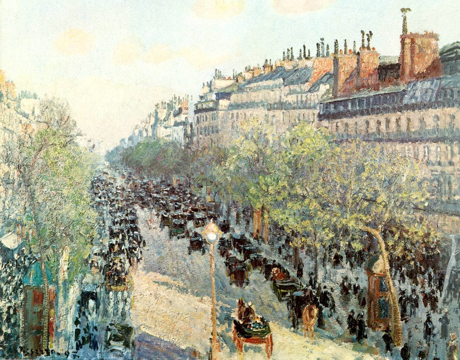 boulevard montmartre twilight camille pissarro artwork on useum. Black Bedroom Furniture Sets. Home Design Ideas
