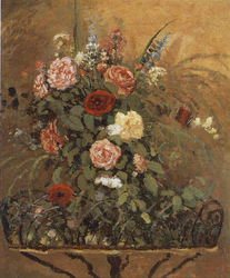Bouquet de fleurs avec jardinière