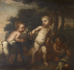 Boys Playing with a Goat