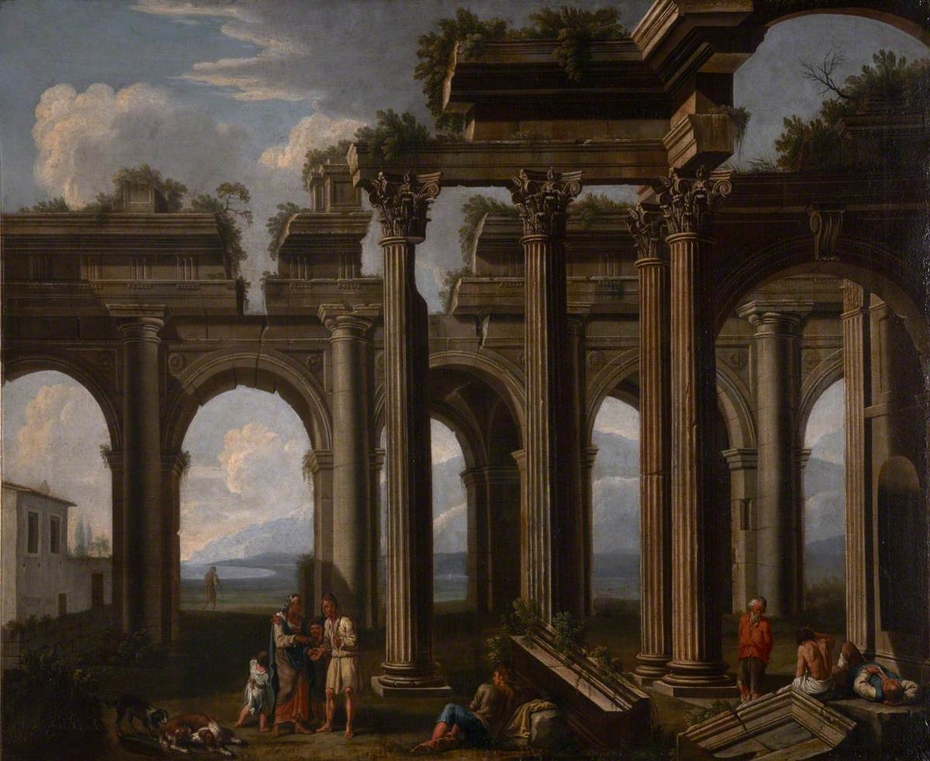 Classical Ruins of a Doric Arcade and Corinthian Colonnade with Lazzaroni and a Fortune-teller