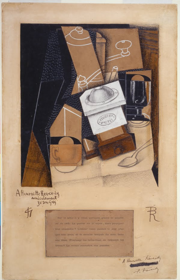 Coffee Grinder, Cup and Glass on a Table