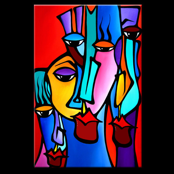 Crazy Loco - Original Abstract painting Modern pop Art Contemporary large colorful Faces by Fidostudio