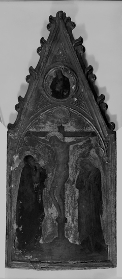 Crucifixion with the Virgin and Saint John; Above, in spandrel: Virgin of the Annunciation