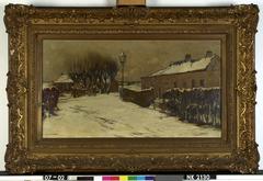 Dorpsweg in de winter