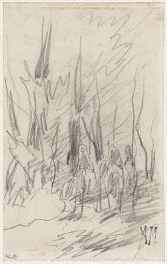 Drie ruiters in een bos