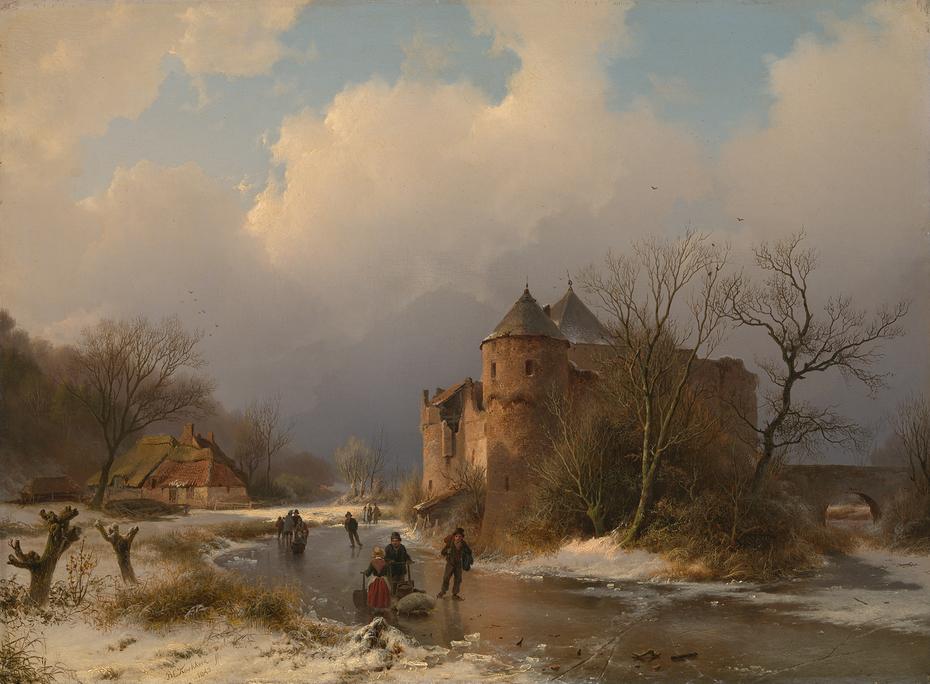 Een kasteel in een winterlandschap