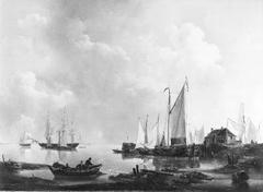 Een stil water, rechts verschillende schepen bij een havenhoofd (Gezicht op Hellevoetsluis)