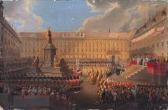 Enthüllung des Denkmals für Kaiser Franz I. von Österreich am 19. Juni 1846 auf dem Wiener Franzensplatz