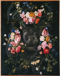 Flower Garland surrounding Madonna with Child with St. Anne in Grisaille