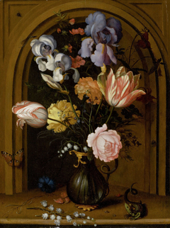 Flower Still Life in a Glass Vase in front of a Niche with Butterfly, Lizard, Fly and Dragonfly