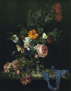 Flower still life with a watch