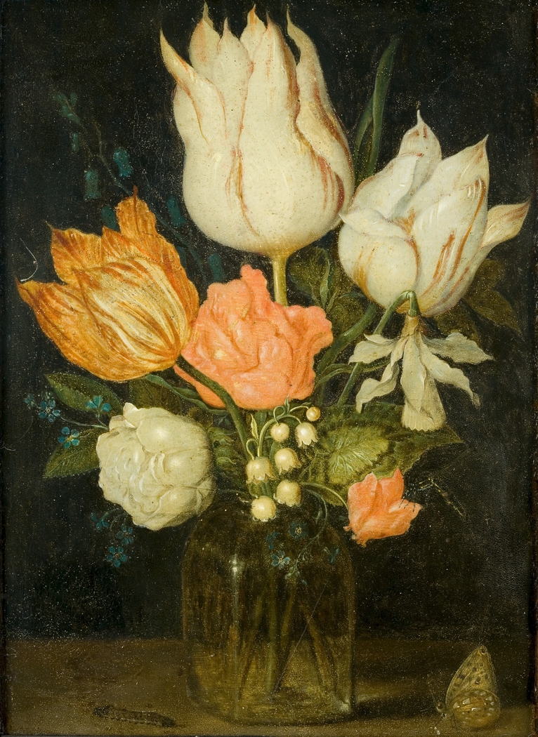 Flowers in a square glass