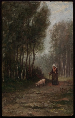 French Peasant Woman with Pig