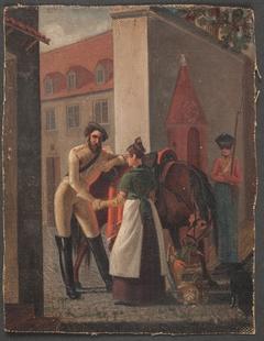 Gadescene. En kavalerist tager afsked med en pige