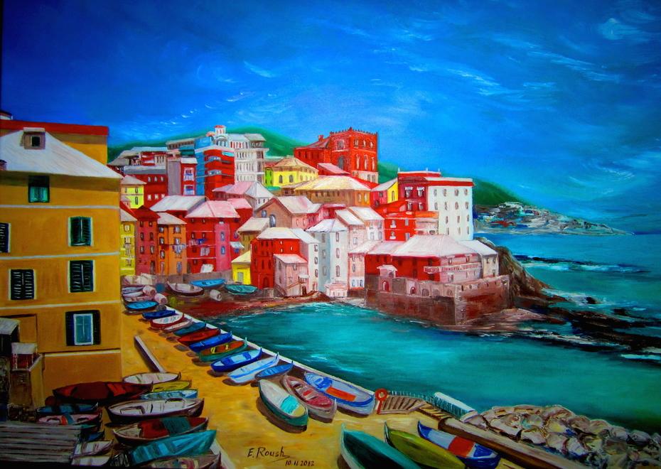 Genoa's Harbor. Italy.