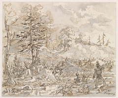 Gevecht tussen cavalerie en voetvolk in heuvellandschap