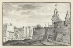 Gezicht op de muren en een ophaalbrug van een stad