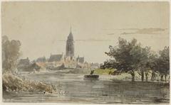 Gezicht op een stadje, gezien van over een rivier