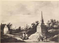 Gypsies near an obelisk