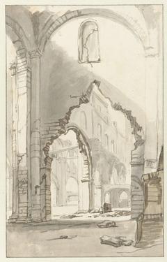 Interieur van de Nieuwe Kerk te Amsterdam, na de brand van 1645