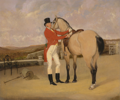 James Taylor Wray of the Bedale Hunt with his Dun Hunter