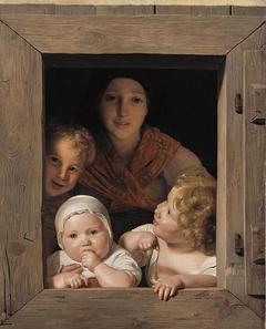Jeune paysanne avec trois enfants à la fenêtre