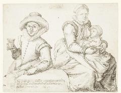 Johannes Hallinck en een vrouw met kind