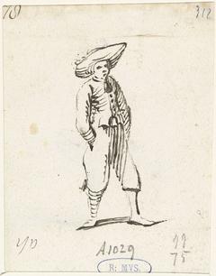 Jongeman met handen in zijn zakken, naar rechts
