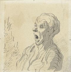 Kop van een oude man met opengesperde mond