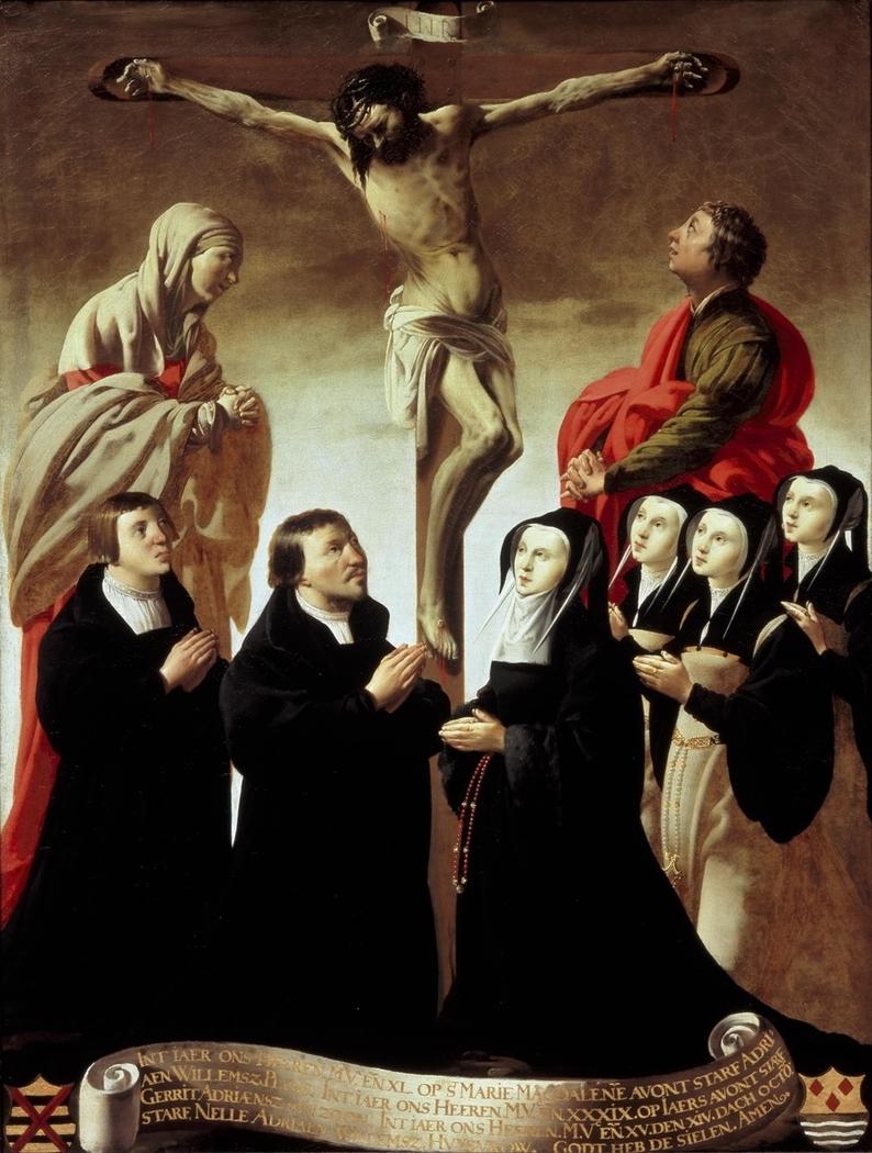 Kreuzigung mit Maria, Johannes und Mitgliedern der Familie van Adriaen Willemsz. Ploos