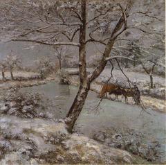 L'étang de Montfoucault en hiver, effet de neige