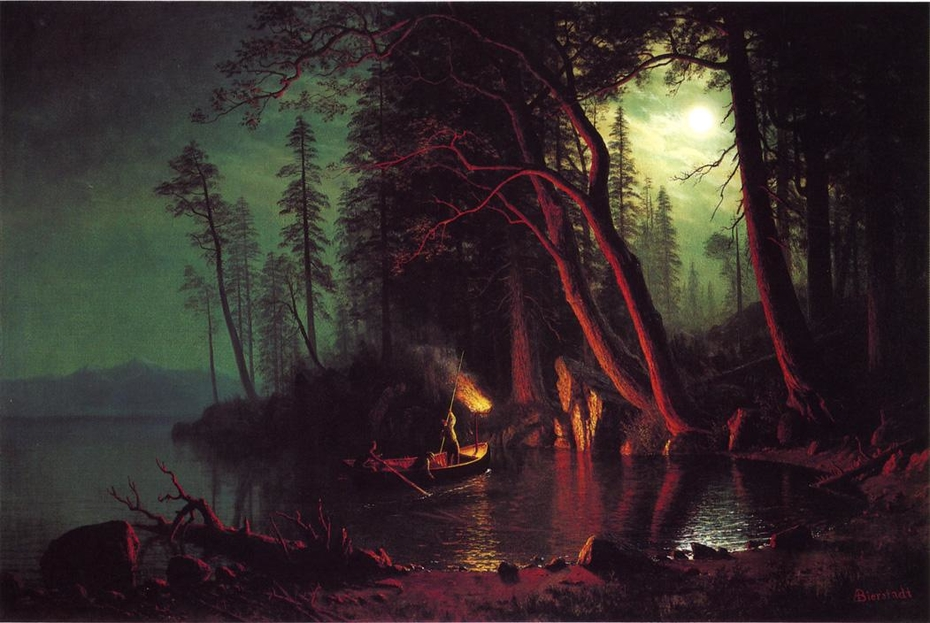 Lake Tahoe, Spearing Fish by Torchlight