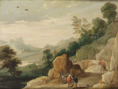 Landschaft mit zwei Maultieren