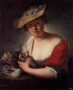 Mädchen mit Tauben und Hühnern