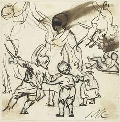 Man en vrouw met drie kinderen, dansend in een kring
