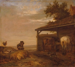 Man Outside a Stable
