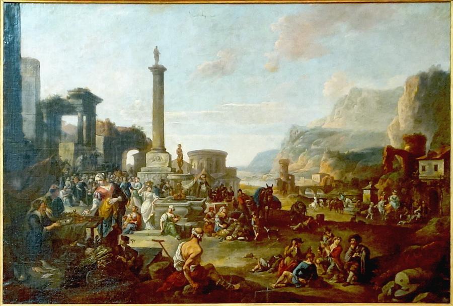 Marché italien dans un paysage de fantaisie