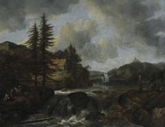 Norwegian Landscape with Waterfall