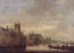 Ommuurde stad aan een rivier