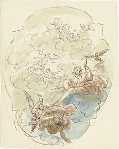 Ontwerp voor een plafondschildering met Jupiter en Mercurius