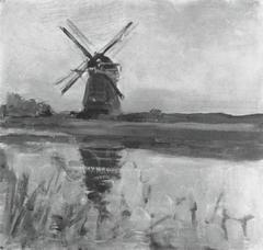 Oostzijdse mill, oil sketch in square format